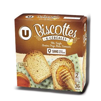 Biscottes aux 6 cereales u 36 tranches 300 g