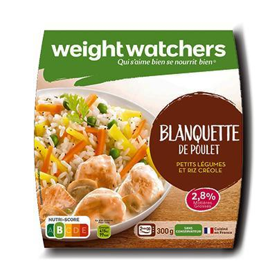 Blanquette de poulet petits legumes et riz creole weight watchers 300 g