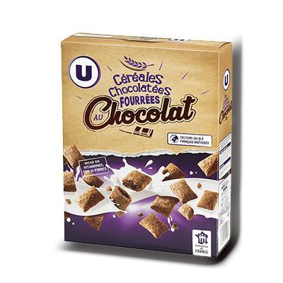 Cereales chocolatees fourrees chocolat u 375 g