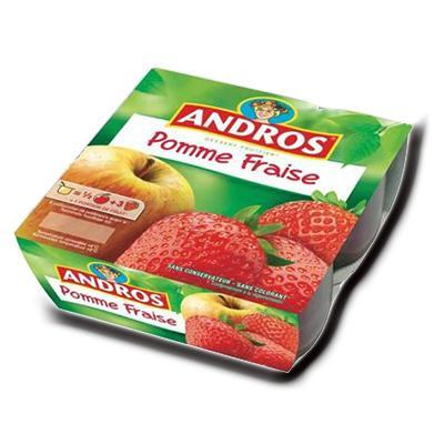 Compote pomme fraise andros 400 g 4x100 g