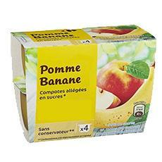 Compote pommes bananes allegee en sucre ppx 4 100 g