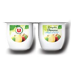 Coupelle allegee dessert de fruits pomme nature u 4 pots de 100 g 400 g