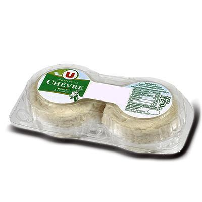Crottins de chevre au lait pasteurise 25 de mg u 2 pieces soit 120 g