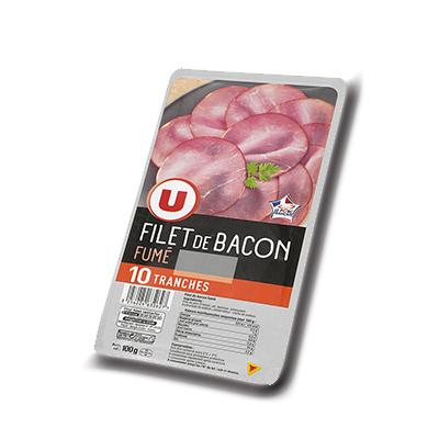 Filet de bacon fume u 10 tranches soit 100 g