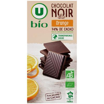 Tablette de chocolat noir orange u bio 100 g